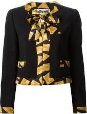 Moschino gold bar print trim jacket