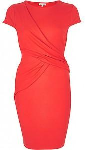 River Island Womens Coral ruched wrap bodycon dress