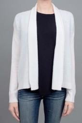 White + Warren High Low Open Cardigan Sweater White