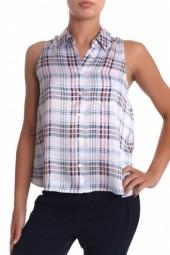 Equipment Mina Sleeveless Plaid Button Down Blouse