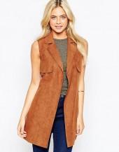 Parisian Longline Sleeveless Jacket in Suedette