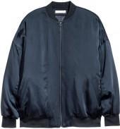 H&M - Oversized Silk Pilot Jacket - Dark blue - Ladies