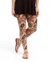 Cream & Red Paisley Leggings