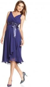Evan Picone Sleeveless Satin-Tie Dress