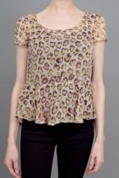 Gryphon Flared Leopard Top