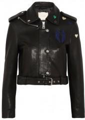 Maje - Embroidered Leather Biker Jacket - Black