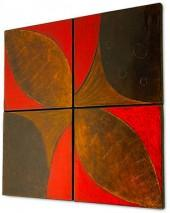 "Howard Elliott ""Brown, Gold & Red"" Wall Panels, Set of 4"