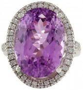 14K White Gold Kunzite Diamond Ring Size 7.75