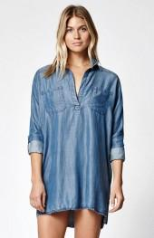 Billabong Wandering Blues Chambray Shirt Dress