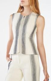 BCBGMAXAZRIA Abrielle Striped Peplum Top
