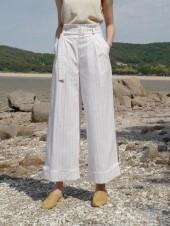 Monts401 Ribbon Linen Stripe Roll-Up Pants