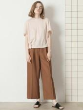 17SS LINNEN TUCK PANTS Brown