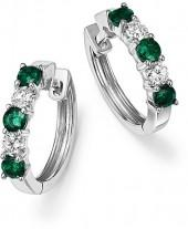 Emerald and Diamond Hoop Earrings in 14K White Gold - 100% Exclusive