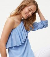 Petite Chambray One Shoulder Blouse