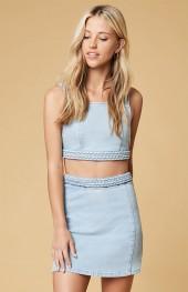 MinkPink Double Dutch Braid Denim Mini Skirt