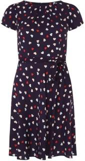 **Billie & Blossom Navy Heart Printed Skater Dress