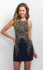 Blush - C360 Sheer and Beaded Cocktail Dress
