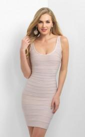Blush - C369 Scoop Neck Fitted Cocktail Dress