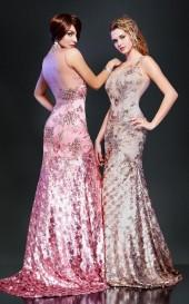 MNM Couture - 7926 Beaded Illusion High Trumpet Dress
