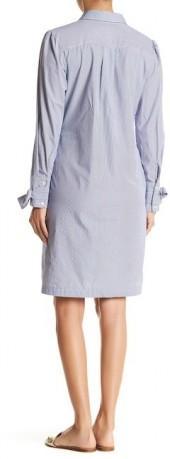 ECI Bow Cuff Railroad Stripe Shirt Dress