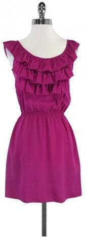 Amanda Uprichard Magenta Ruffled Tiered Silk Dress