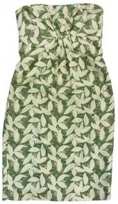 Tracy Reese Green Leaf Print Strapless Dress