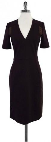 Gucci Dark Purple Velvet Trim Short Sleeve Dress
