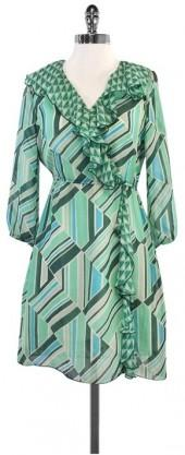 Anna Sui Green & Blue Geo Print Silk Ruffle Dress