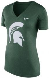 Women's Nike Michigan State Spartans Striped Bar Tee