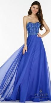 Alyce Paris Strapless Semi Sweetheart Embellished Chiffon Prom Dress