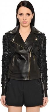 Embroidered Nappa Leather Jacket
