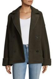 ATM Anthony Thomas Melillo Horizontal Boucle Double Knitted Pea Coat