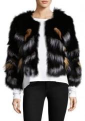Adrienne Landau Multicolor Fox Fur Jacket
