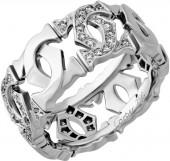 Cartier Estate 18k White Gold Diamond Interlocking C Band Ring, Size 6.25