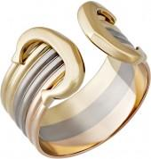 Cartier Estate 18k Tri-Color Double-C Ring, Size 9