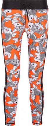 The Upside - Sea Of Koi Cropped Printed Stretch Leggings - Bright orange