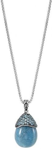 John Hardy Classic Chain Celestial Orb Blue Quartz Pendant Necklace