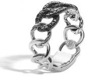 John Hardy Lava Round Link Band Ring with Black Sapphire