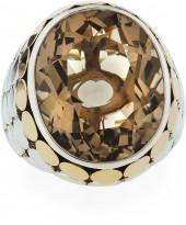 John Hardy Batu Dot Large Oval Smoky Quartz Cocktail Ring, Size 7