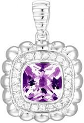 John Hardy Bedeg Small Square Pendant Enhancer w/ Amethyst & Diamonds
