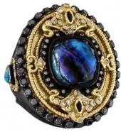 Armenta Old World Diamond, Sapphire, Opal, Quartz & Mother of Pearl Doublet Ring