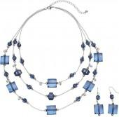 Plus Size Beaded Multi Strand Necklace & Drop Earring Set