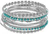 Plus Size Textured Teal Bead Bangle Bracelet Set