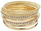 Plus Size Hammered and Twisted Simulated Crystal Bangle Bracelet Set