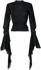 Vera Wang draped sheer sleeves jumper