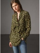 Burberry Pussy-bow Floral Silk Longline Blouse