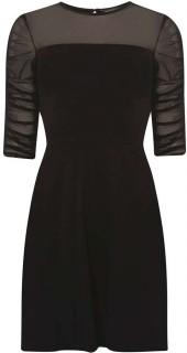 Black Mesh Ruched Sleeve Fit and Flare Dress