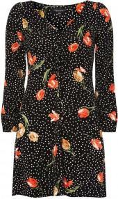 Black Spotted Tea Dress