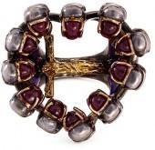 Delfina Delettrez Ruby 18k gold and silver skull cross ring