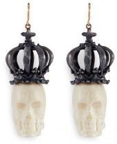 Delfina Delettrez 'Bone Skull' 18k yellow gold and silver drop earrings
